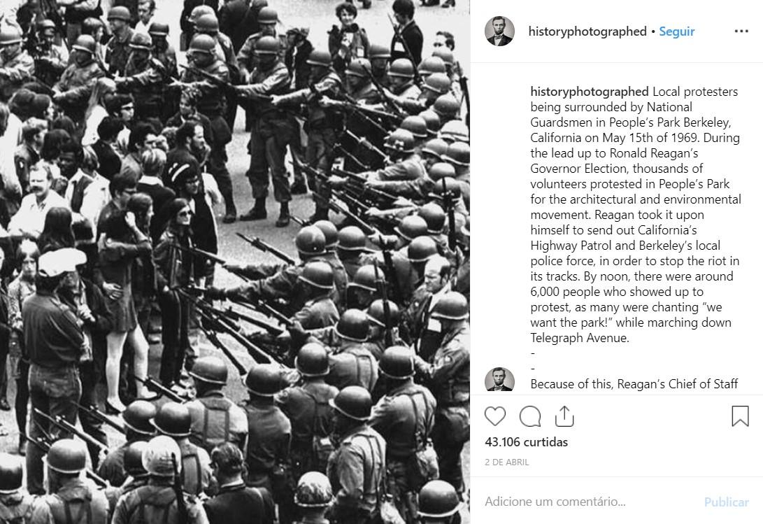 Manifestantes locais sendo cercados pela Guarda Nacional no Parque do Povo de Berkeley, Califórnia (EUA), em maio de 1969 - Crédito: reprodução/33Giga/ND
