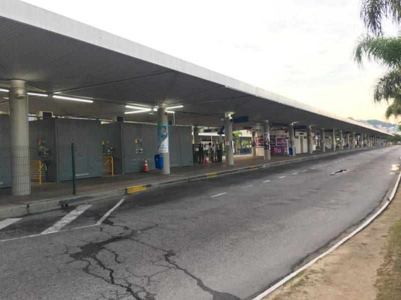 Ticen (Terminal de Integração do Centro) amanheceu vazio em Florianópolis - Eduardo Cristofoli/RICTV
