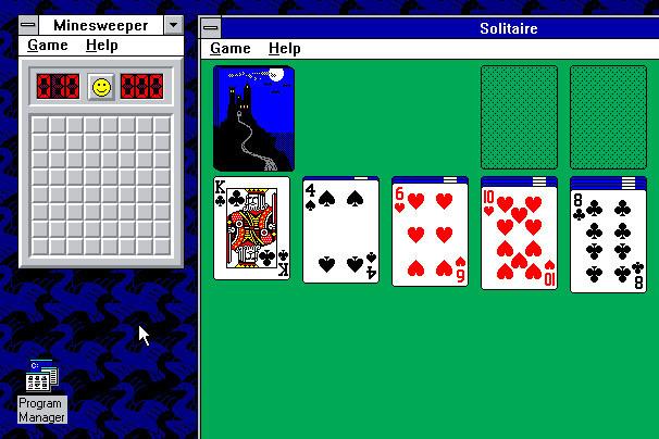 """Windows 3.1 – Março de 1992: Apesar de os Windows 1 e 2 também possuírem versões derivadas com um """"ponto"""", apenas o 3.1 merece destaque por suas atualizações significativas. A principal delas foi a introdução da fonte TrueType, transformando o SO em uma plataforma de publicação. Também foi nesse software que apareceu o jogo Campo Minado. - Crédito: Reprodução Internet/33Giga/ND"""