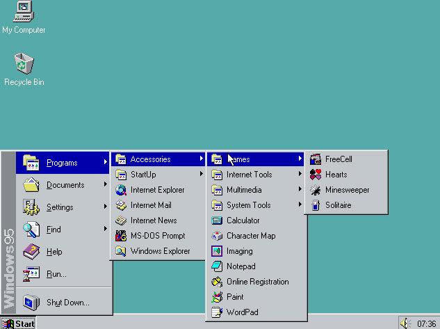 Windows 95 – Agosto de 1995: Com um recorde de vendas de 7 milhões de cópias em apenas cinco semanas, o Windows 95 trouxe pela primeira vez os tão familiares Menu Iniciar e Barra de Ferramentas, além dos botões de minimizar, maximizar e fechar em cada janela. Foi nesta versão também que o software ofereceu suporte integrado à Internet, com discagem de rede e o navegador Internet Explorer. - Crédito: portalgda via VisualHunt / CC BY-NC-SA/33Giga/ND