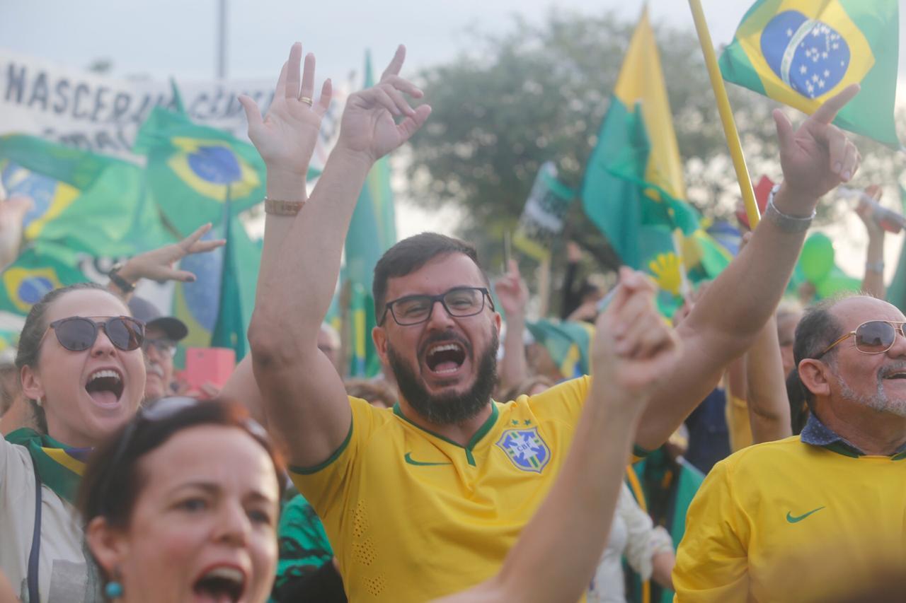 Gleiber Barbosa na manifestação em Florianópolis - Flávio Tin/ND