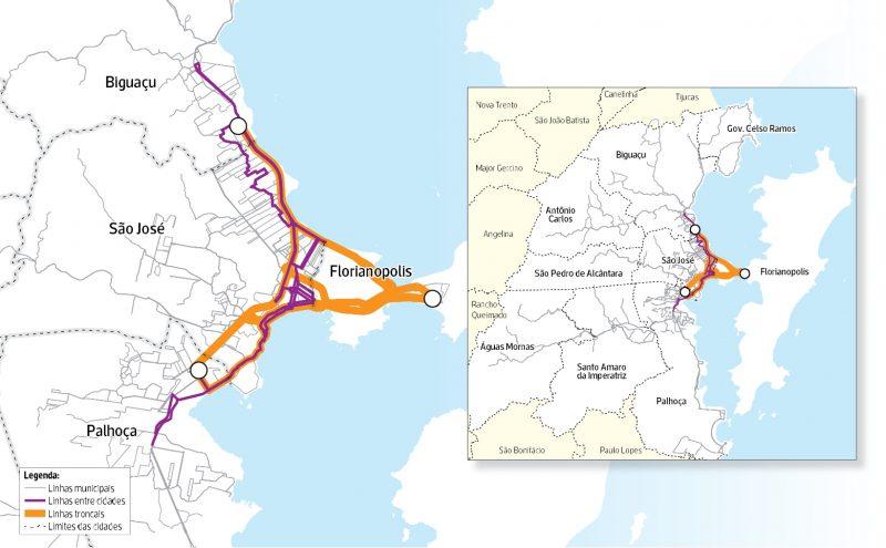Integração transporte coletivo Grande Florianópolis – Arte/ND