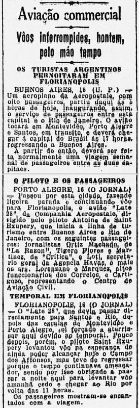 O Jornal (RJ) também registrou o pernoite de Exupéry, em 17/04/1930 - pernoite exupery fpolis