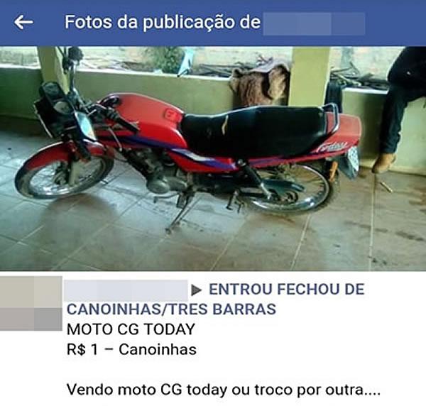 Moto estava sendo revendida em grupo de uma rede social – Polícia Militar / Divulgação