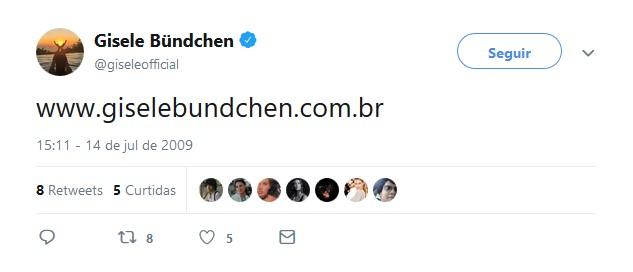 Gisele Bündchen – 14 de julho de 2009 - Crédito: Reprodução Twitter/33Giga/ND