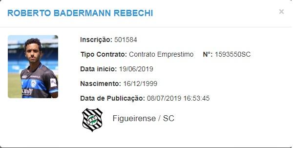 Roberto, atacante do Figueirense – BID/CBF