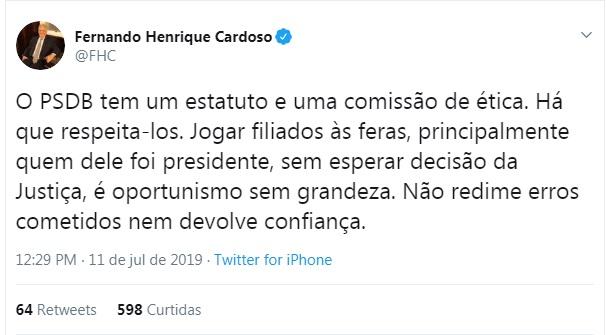 Ex presidente Fernando Henrique se manifestou publicamente nesta quinta-feira – Twitter/Reprodução/ND
