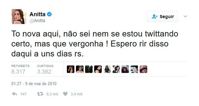 Descubra qual foi o primeiro tweet de celebridades nacionais e internacionais: Anitta – 9 de maio de 2010 - Crédito: Reprodução Twitter/33Giga/ND