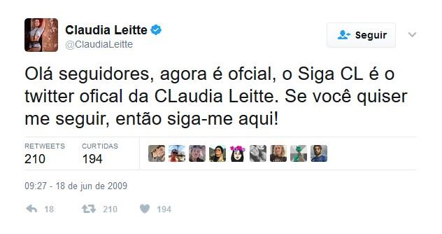 Claudia Leitte – 18 de junho de 2009 - Crédito: Reprodução Twitter /33Giga/ND