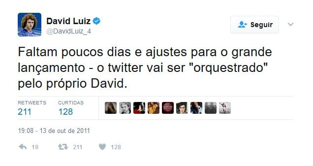 David Luiz – 13 de outubro de 2011 - Crédito: Reprodução Twitter/33Giga/ND