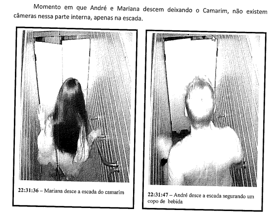 Momento em que a vítima e o suspeito descem as escadas do camarim – Reprodução/ND