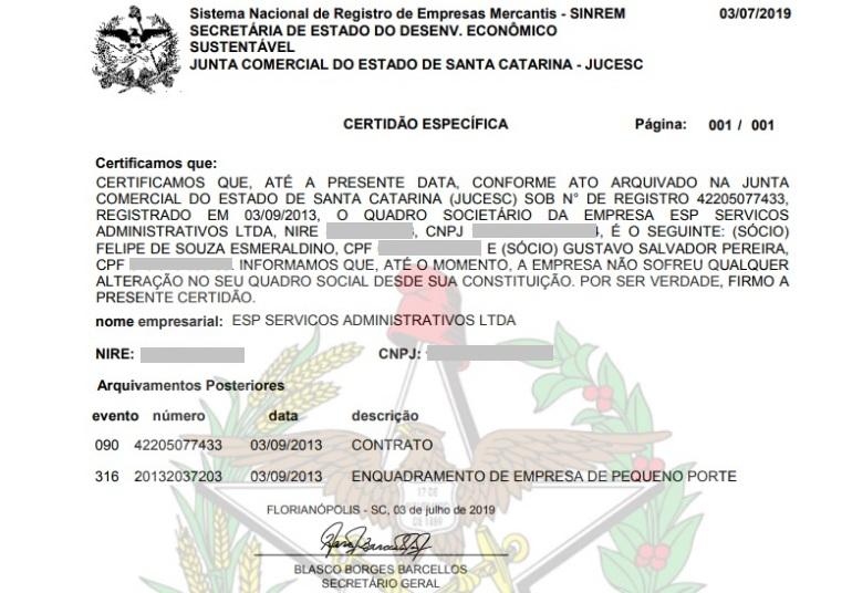 Certidão comprova sociedade de Gustavo Salvador Pereira na ESP Serviços Administrativos – Lúcio Lambranho/Divulgação/ND