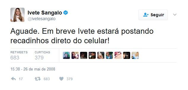 Ivete Sangalo – 26 de maio de 2008 - Crédito: Reprodução Twitter /33Giga/ND