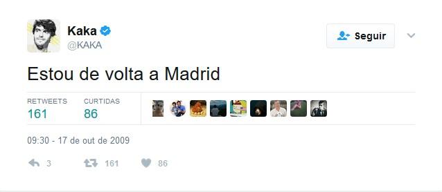 Kaká – 17 de outubro de 2009 - Crédito: Reprodução Twitter /33Giga/ND