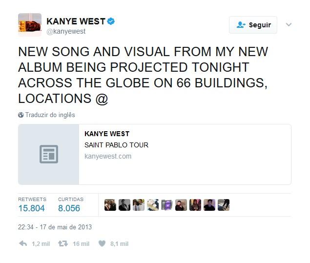Kanye West – 17 de maio de 2013: