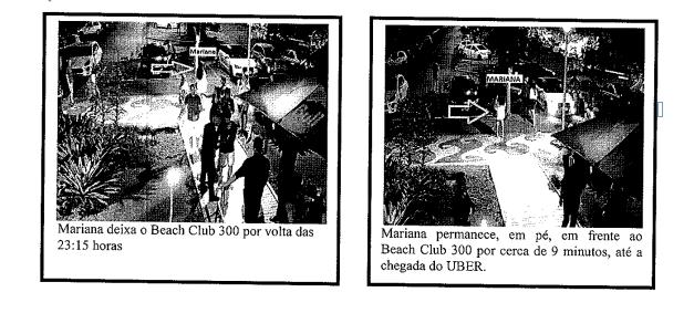 Percurso entre o Café e beach club 300, onde Mariana pegou o Uber – Foto: Reprodução/ND