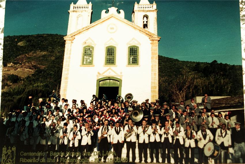 Comemoração pelo centenário da Banda da Lapa, em 1996, na Freguesia do Ribeirão da Ilha - Arquivos Banda da Lapa/Divulgação