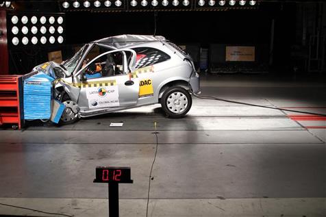 Descontinuado em 2015, o Celta foi avaliado em 2011 sem airbags; a carroceria ficou bastante comprometida após o final do teste - Foto: Divulgação - Foto: Divulgação/Garagem 360/ND