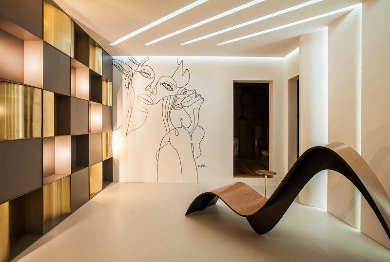 Hall de Entrada Conceito e Lavabo Tridimensional, de Eduardo Castello Branco e Cibele Castello Branco. – Lio Simas/CasaCor SC/Divulgação