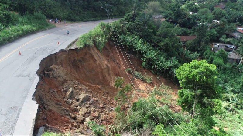 Deslizamento aconteceu no início do ano, durante chuvas que castigaram a região Norte – Imagem: RIC TV Joinville