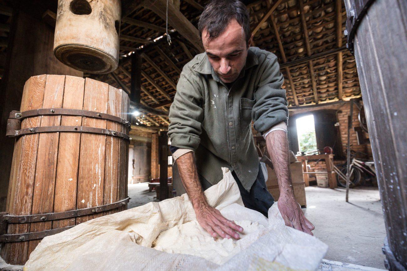 Após cevada (triturada), a massa é disposta em sacos de aniagem e levada à prensa - Anderson Coelho/ND