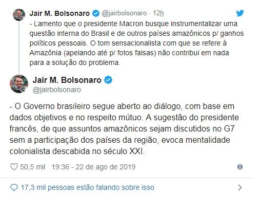 No Twitter, Bolsonaro declarou que o governo brasileiro segue aberto ao diálogo – Reprodução/Twitter