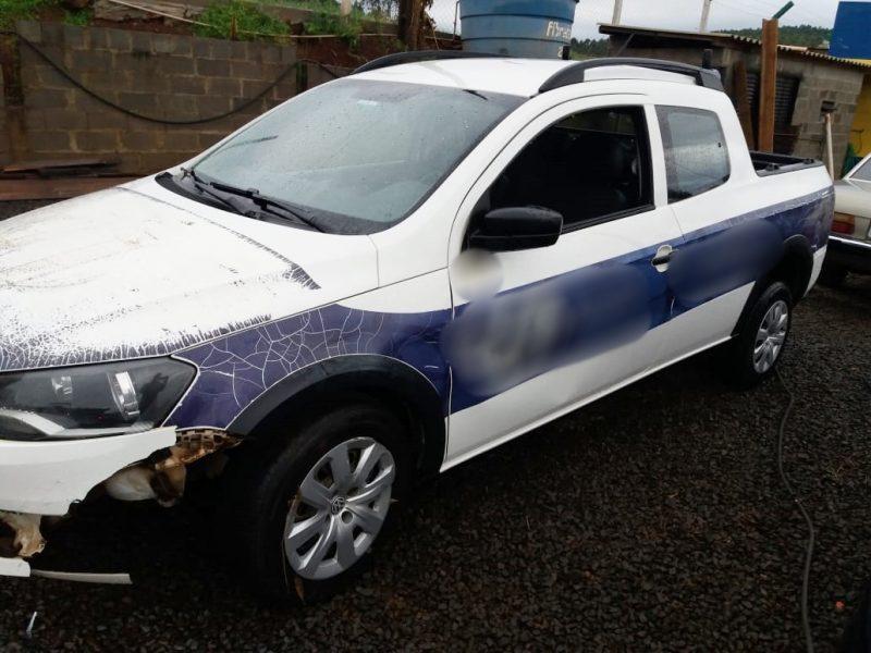 Carro ficou com danos na parte frontal – PRF-SC/Divulgação