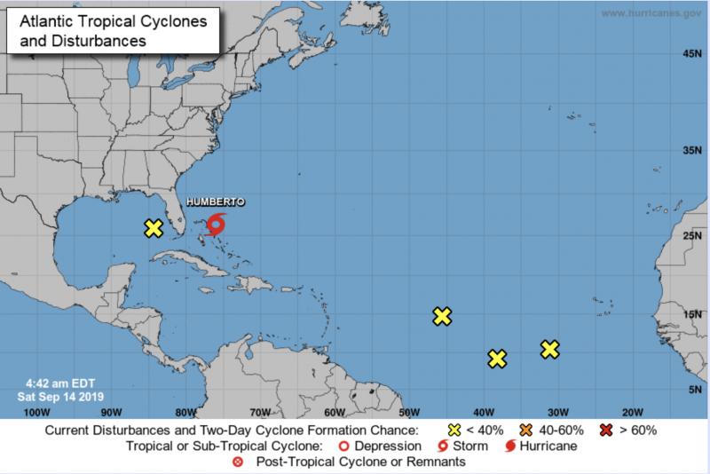 Gráfico do NHC mostra caminho da Tempestade Humberto, que deve se converter em furação – Reprodução NHC