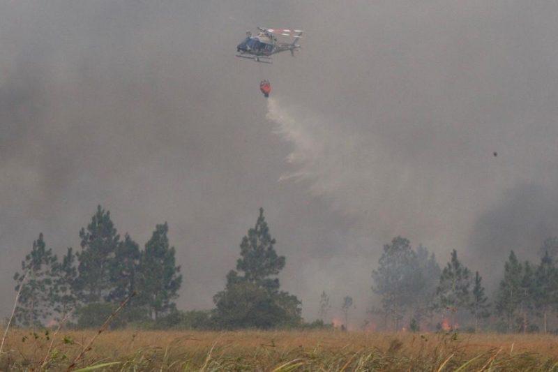 O Arcanjo, equipe aérea do Corpo de Bombeiros Militar e o Águia, da Polícia Militar, também trabalharam durante o dia no combate ao incêndio - Flávio Tin/ND