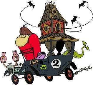E até em desenhos animados os carros estavam no contexto do terror. A Corrida Maluca tinha o Cupê Mal-Assombrado, a junção de um automóvel com antigo e torre de um castelo. Morcegos, uma serpente, fantasmas, dragão e bruxa andavam no carro - Crédito: Reprodução - Crédito: Reprodução/Garagem 360/ND