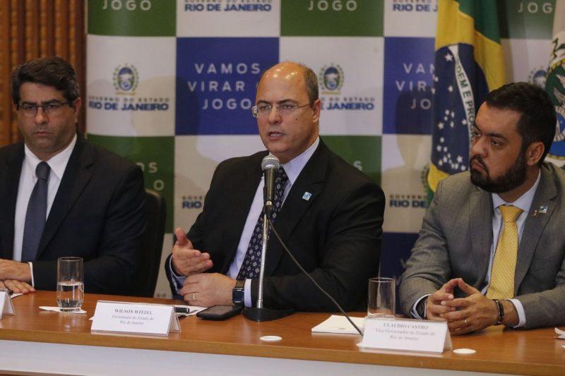 Governador Wilson Witzel (centro) e secretários de Estado, no Palácio Guanabara, falaram sobre morte da menina Ágatha Félix, durante ação da Polícia Militar no complexo de favelas do Alemão – Fernando Frazão/Agência Brasil/ND