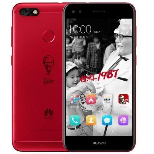 KFC Huawei 7 Plus (2017) – Para comemorar os 30 anos da franquia KFC na China, a Huawei lançou um smartphone em parceria com a marca especializada em frango frito. O dispositivo de cor vermelha tinha o rosto do fundador do KFC, Coronel Sanders, gravado na traseira. Foram fabricadas 5 mil unidades. Todos modelos vinham com aplicativos relacionados à franquia. - Crédito: Divulgação/33Giga/ND