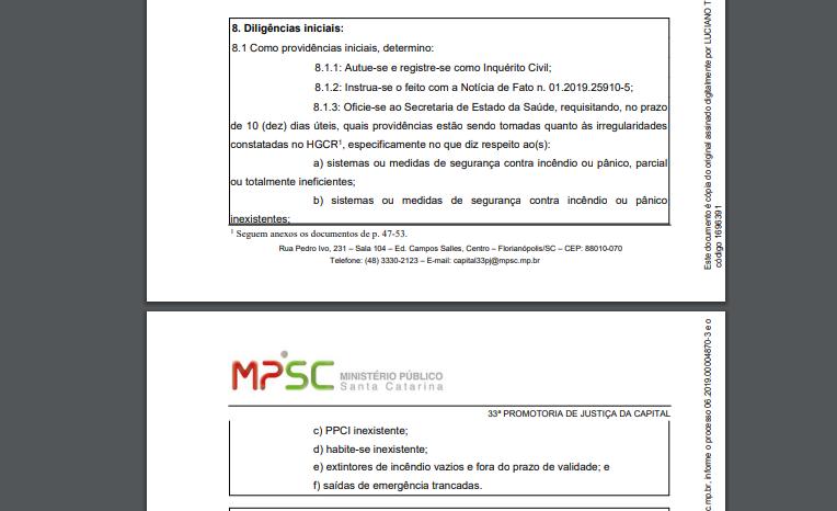 MPSC abre três inquéritos para investigar falta de estrutura no Hospital Celso Ramos
