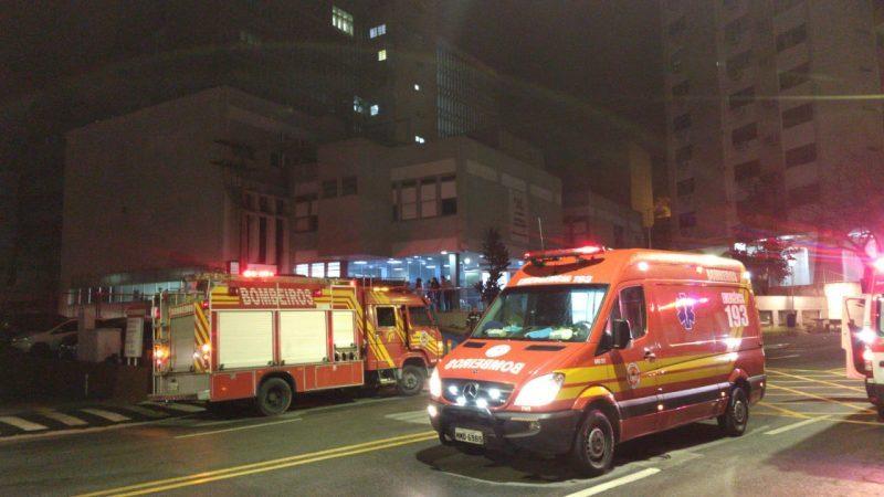 Princípio de incêndio no Hospital Governador Celso Ramos – Foto: Corpo de Bombeiros Militar/Divulgação/ND