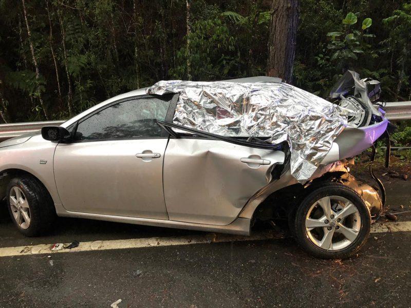 Acidente deixou quatro vítimas fatais e uma com lesões graves - Divulgação/PRF/ND