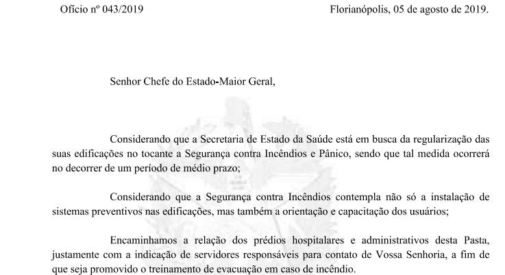 Trecho da resposta da Secretaria do Estado da Saúde para o Ministério Público de Santa Catarina – Foto: Ministério Público de SC