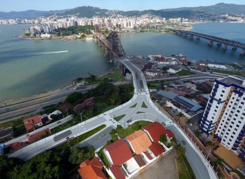 O novo desenho, com os acessos refeitos, na cabeceira continental da ponte – Foto: Divulgação/ND