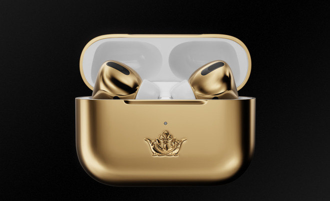 Os Airpods Pro também vêm acompanhado com o estojo de recarrega sem fio, também revestido de ouro - Reprodução/Caviar