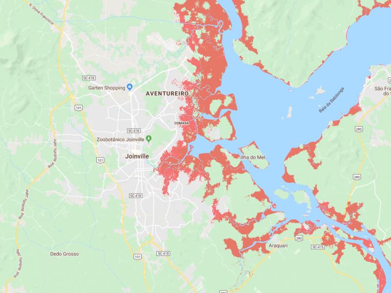 Parte de Joinville pode ser afetada com a alta das marés – Foto: Climate Central/Reprodução