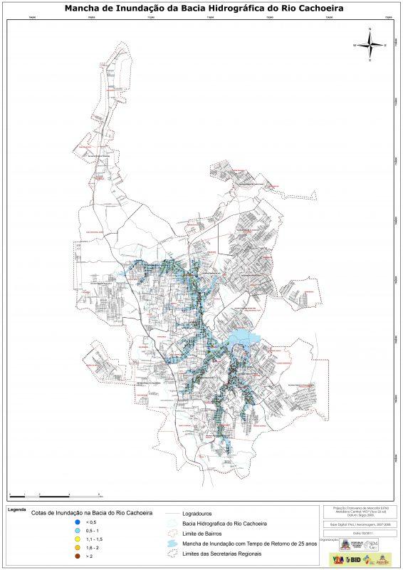 Mapa mostra regiões suscetíveis à inundações por influência de maré na Bacia Hidrográfica do Rio Cachoeira – Foto: Prefeitura de Joinville