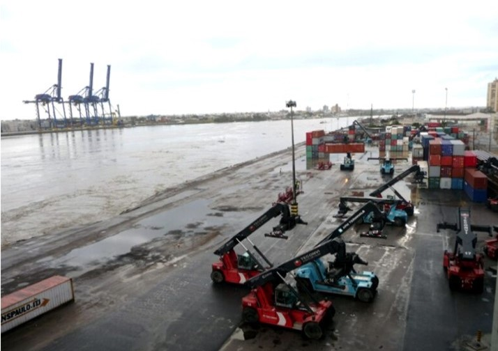 Porto de Itajaí após inundação em 2008 – Foto: Porto/Arquivo/ND