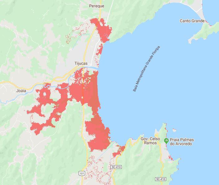 Pesquisa mostra Tijucas em 2050 – Foto: Climate Central/ND