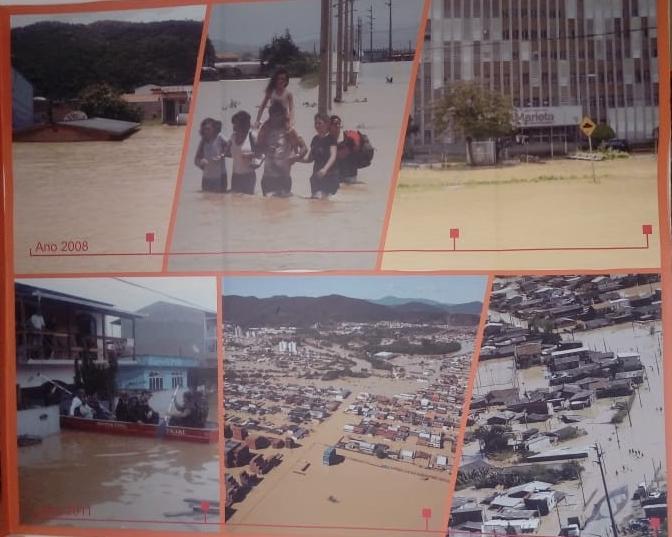 Grande enchente de 2008, no Vale do Itajaí – Foto: Defesa Civil de Itajaí/Divulgação/ND