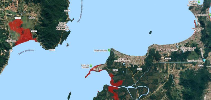 Em Florianópolis, Norte da Ilha pode ser uma das áreas mais afetadas pela elevação do mar – Foto: Climate Central/Reprodução/ND