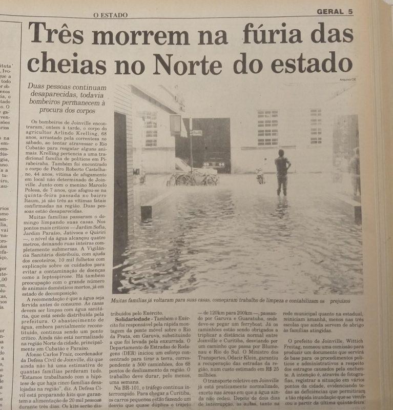Cheias marcaram Joinville em 1995 – Foto: jville
