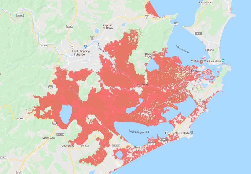 Mapeamento da ONG Climate Central mostra área com risco de inundação – Foto: Climate Central/Reprodução/ND