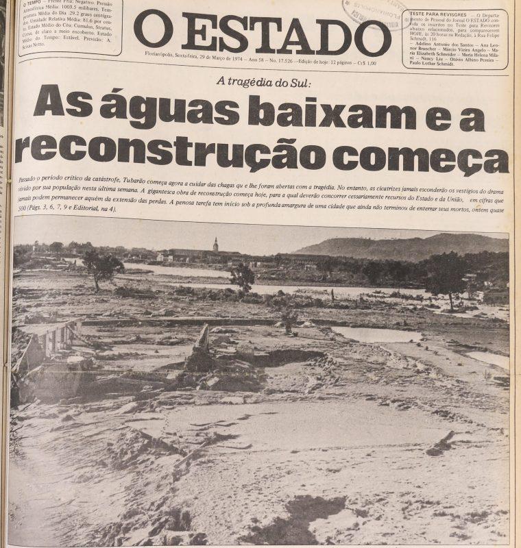 Capa do jornal O Estado de 29 de março de 1974 – Foto: BPSC/Reprodução/ND