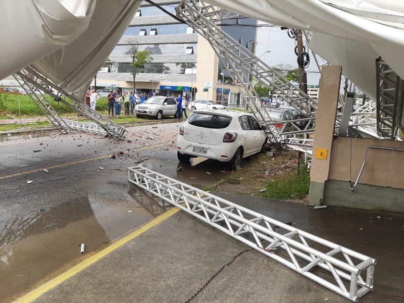 Estrutura foi arremessada no Pedra Branca, em Palhoça – Foto: Divulgação/ND