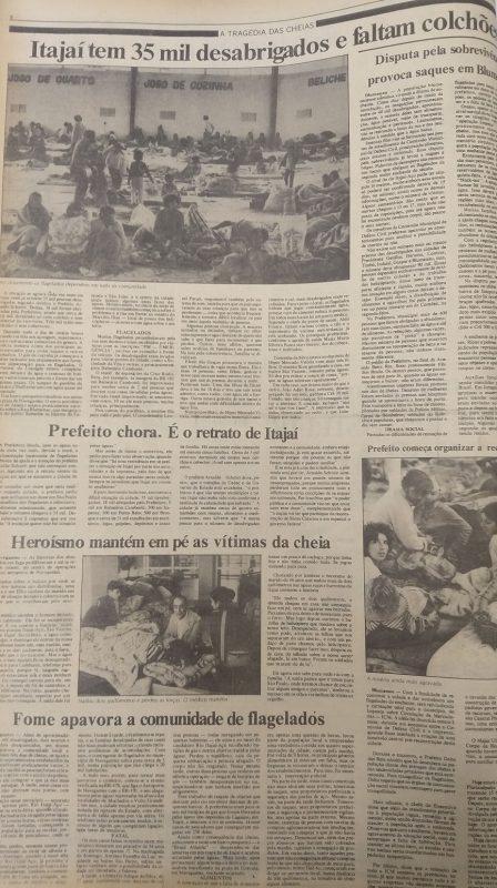Jornal O Estado destacou choro de prefeito ao ver estragos em Itajaí em 1983 – Foto: O Estado/Reprodução/ND