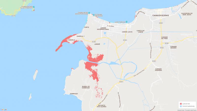 Projeção mostra Praia da Daniela em 2050 – Foto: Climate Central/Reprodução/ND
